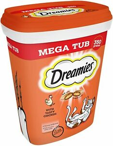 Dreamies Cat Treats, Tasty Snacks with Delicious Chicken, 2 Tubs of 350 g