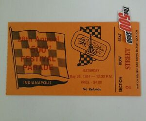 1984 Used 500 Festival Parade Ticket Stub - IndyCar Indianapolis 500 Indy Race