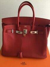 99aaac714ea 100% AUTH HERMES BIRKIN 35 Red Clemente Leather .France