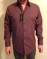 NEW AXIST Mens Long Sleeve Button Down Dress Shirt Medium Maroon
