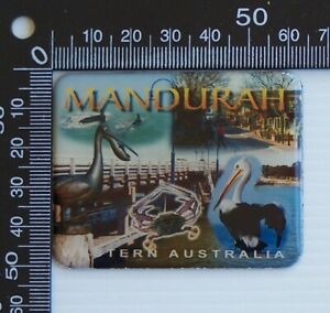VINTAGE MANDURAH WESTERN AUSTRALIA TOWN SOUVENIR ENAMEL FRIDGE MAGNET