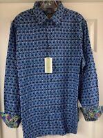 Robert Graham Octavian Classic Fit Blue Flip Cuff Casual Shirt Men's Large New!