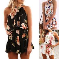 Women' Holiday Mini Playsuit Jumpsuit Romper Summer Beach Casual Shorts Dress