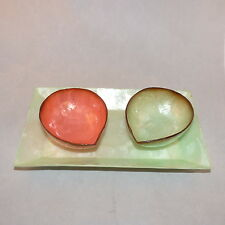 CAPIZ SHELL CANDY NUT BOWLS 2 WITH SERVING PLATE LAYERED SHELL AQUA & PEACH