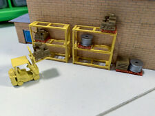 N Scale Warehouse racking with forklift and pallets