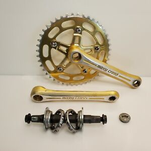 Rare Vintage Sugino Maxy Cross BMX Forged 3 Piece Crankset Gold 170mm 44 Japan