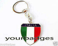 New Chrome Metal ITALIA key chain keyring Italy Flag