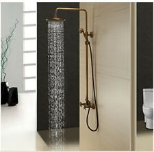 "Luxury Antique Brass 8"" Rain Exposed Shower Faucet Dual Handles W/ Hand Shower"