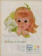1959 Northern PRINT AD Bath Tissue Auburn Haired Little Girl Great Art fun Decor