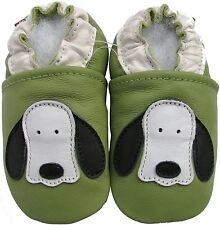 carozoo dog long ear green 6-12m soft sole leather baby shoes