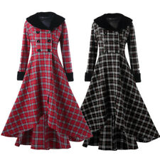 Women Full Length Plaid Swing Coat Faux Fur Collar Trench Parka Jacket Overcoat