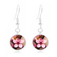 Cherry blossom Flower glass Earrings Art Photo Tibet silver Earring Jewelry #97