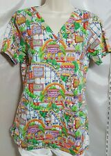 Cottonality Women's Scrub Top, Multicolor, SIze Xtra Small, Medical Theme Park