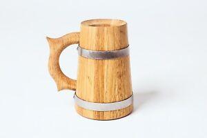 Wooden Oak  Beer Mug  Cup Tankard Solid Oak  Wood 0,7liter with steel hoops