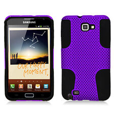 For AT&T Samsung Galaxy Note Hybrid Hard Silicone Rubber Skin Case Purple Mesh