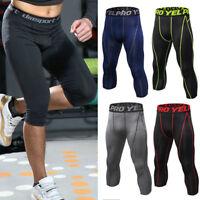 Mens Compression Pants Capri Long Base Layer Leggings Sports Fitness Trousers G