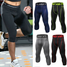 Mens Compression 3/4 Pants Capri Shorts Baselayer Cool Dry Sports Tights Fitness
