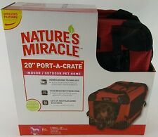 """Natures Miracle 20"""" Port A Crate Pet Carrier Indoor Outdoor Home Up To 15#"""