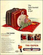 1954 vintage AD Tri-Taper Luggage by AMERICAN TOURISTER , fiberglass 062017