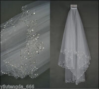 2020 New 2 Layers Beaded Edge Pearl Sequins Bridal Wedding Veil With Comb