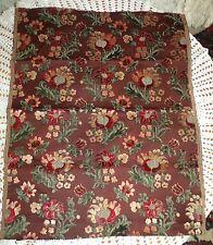 """Antique Mid 19th 1860's Century Cut Velvet Carpet Bag Fabric Remnant 22"""" X 28"""""""