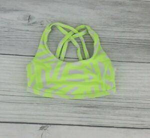 Under Armour Big Girls Criss Cross Dri Fit Sports Bra Size Small Neon Yellow