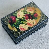Vintage wooden Casket box with hand painted flowers of the USSR Palekh