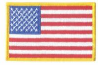 US American Flag Gold Border Iron On, Glue On, Sew On Patch 8x5cm
