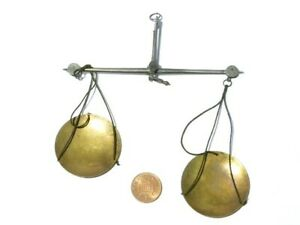 """Antique 18thC Merchants Small Pair of Weighing Coin Scales Unboxed 5"""" #SC20"""