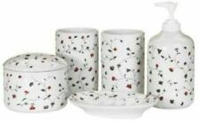New sealed BOASJO 5-piece ceramic bathroom set, soap dispenser white & flower