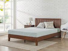 Modern King Size Solid Wood Platform Bed Frame Set W/ Headboard, For Mattress