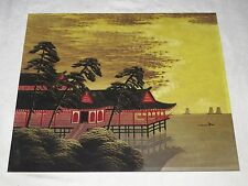 WW2 Vintage Red Houses on Stilts over Water Japanese Silk Board Painting
