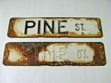"""Pair of Vintage Metal Street Signs """"Pine Street""""  24"""" x 5 7/8"""" Nice patina"""