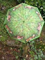 Beautiful Vintage Retro VOGUE Umbrella/Walking Stick-Green/Tan Cat Design-Qualit