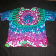 3X Organic Tie Dye T-Shirt Peacock Hand Tye Dyed 3XL XXXL Hippie Fair Trade