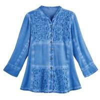 Parsley & Sage Womens Openwork Shirt - 3/4 Sleeve Button Down Amelia Tunic