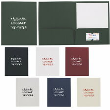 Personalized Linen Paper Folder Foil Stamp Printed with your Logo + Text 100 QTY