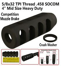 ".458 SOCOM 5/8x32 TPI 5"" Mid Size Competition Muzzle Brake,With Crush Washer"