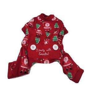 "Dog Christmas Pajamas ""I Party With Santa"" XS Red Funny"