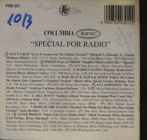 VARIOUS   Pc Disc - Special For Radio SONY MUSIC COLUMBIA  PRM 301