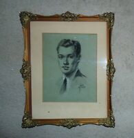 Vintage Portrait Charcoal Drawing Gentleman Man Male Mid Century Modern