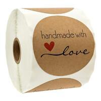 Handmade with Love Aufkleber Seals DIY Fertigkeit Runde  LZ