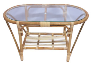 Handmade Natural Rattan Oval Coffee Side Table with Clear Glass Top with Shelf