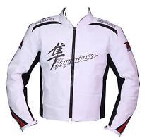 *Suzuki Hayabusa white*Motorbike/Motorcycl e Leather Jacket Biker's Jacket