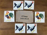 Vtg 1948 Chicken Decals Rooster Hen Menagerie Lot Of 6