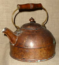 ANTIQUE~Gorgeous SMALL REVERE COPPER & BRASS TEA KETTLE w/ LID & BAIL HANDLE