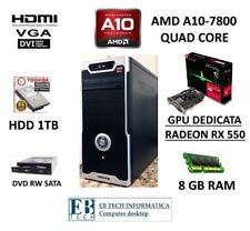 """PC GAMING ASSEMBLATO AMD A10-7800 +""""GPU RADEON RX550 2GB DDR5"""" +8GB RAM + HD 1TB"""