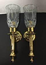Pair Of Solid Brass Candle Holder Wall Sconce Heavy Crystal Glass