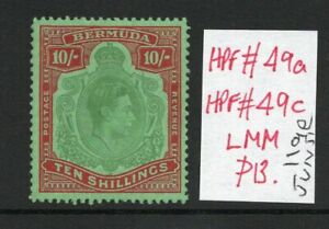 BERMUDA GEORGE VI 10/- SG119e June 51 Ptg. lightly hinged with the flaw.