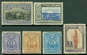 EDW1949SELL : PERU 1918-38 Scott #219, 239-41, 383-84 Very Fine Mint OG Cat